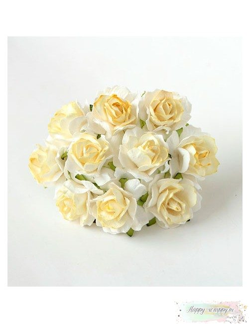 Кудрявая роза 3 см - белый-св.желтый (1 шт)