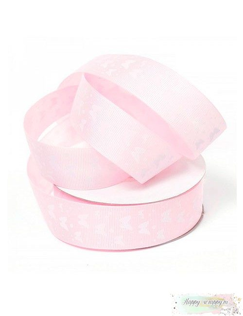 Лента репсовая - розовая с бабочками (1 м)