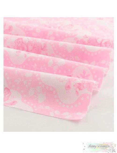 Ткань Цветы шебби - розовые