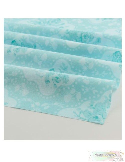 Ткань Цветы шебби - голубые