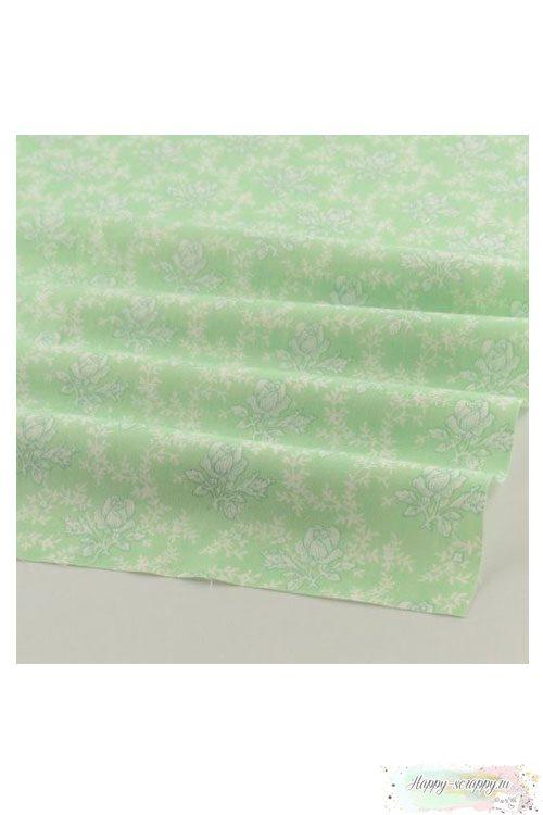 Ткань Узор из роз - св.зеленые