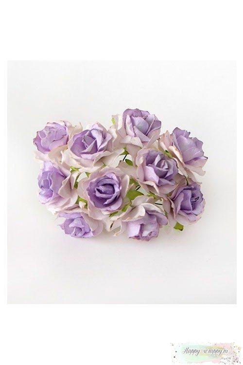Кудрявая роза 3 см - белый-св.сиреневый (1 шт)