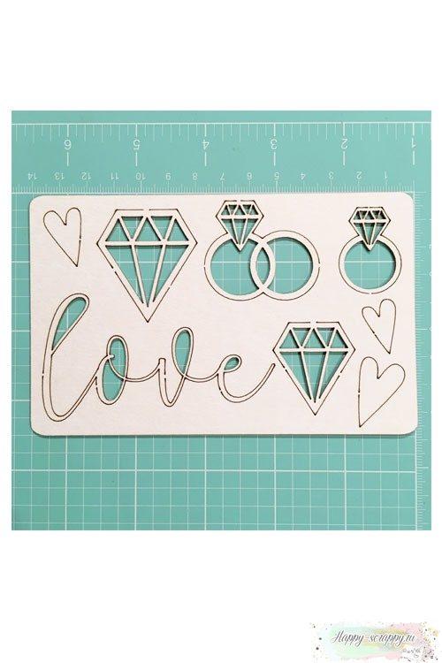 Набор чипборда из картона Love