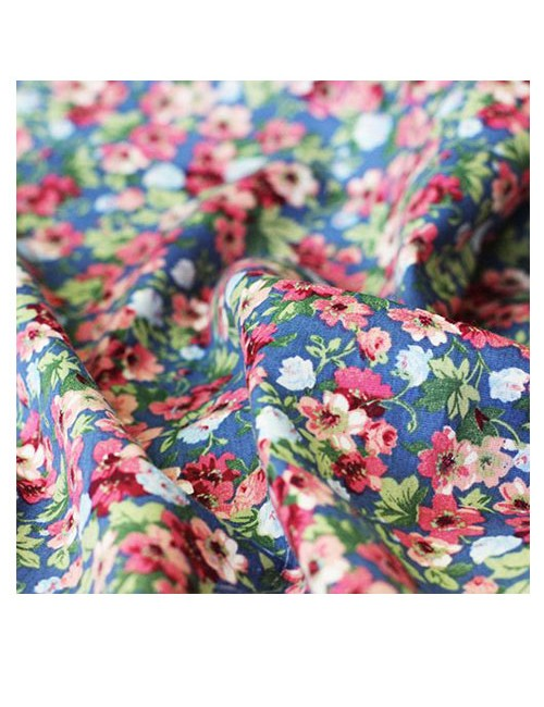 Ткань хлопок - Цветы на синем (50х50 см)