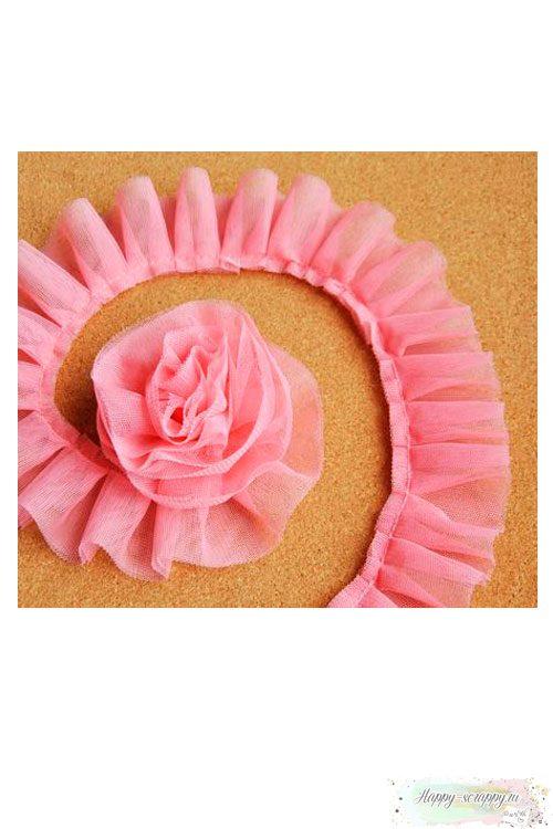 Сетка-оборка розовая