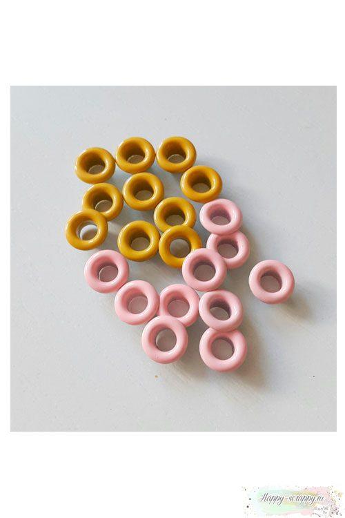 Люверсы желтые и св-розовые (20 шт)