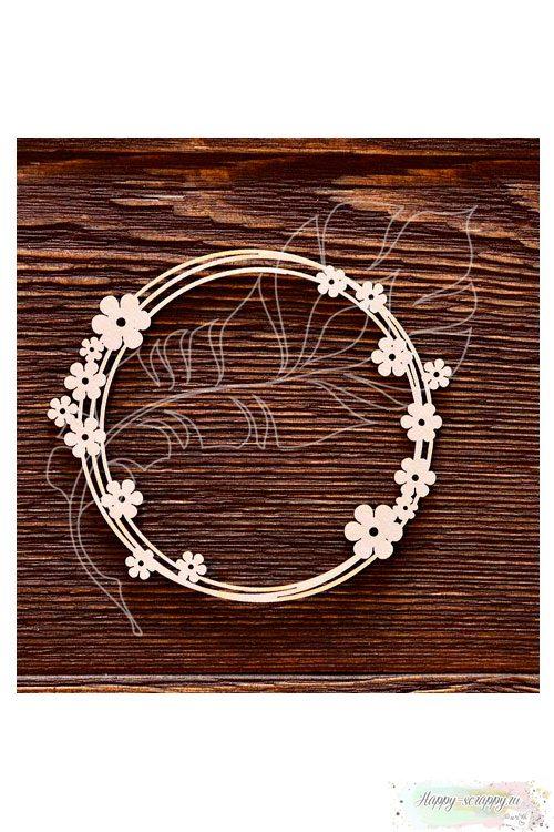 Чипборд из картона Рамка с цветочками