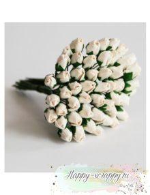Бутоны роз средние закрытые - белые (5 шт)