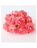 Кудрявые розы 2 см - коралловые (5 шт)