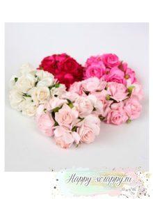 Кудрявые розы 3 см - розовый микс (5 шт)