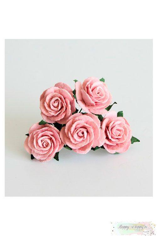 Роза 2,5 см - розовоперсиковая (1 шт)