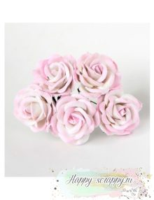 Роза 4 см - св.розовый-белый (1 шт)