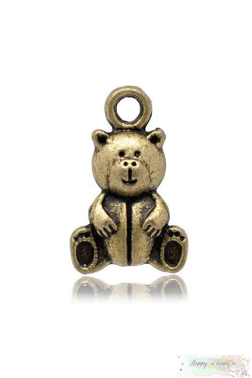 Металлическая подвеска Медвежонок бронзовый