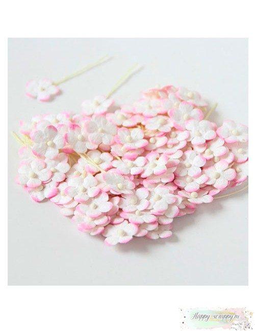 Цветочки маленькие 1 см - розово-белые (10 шт)