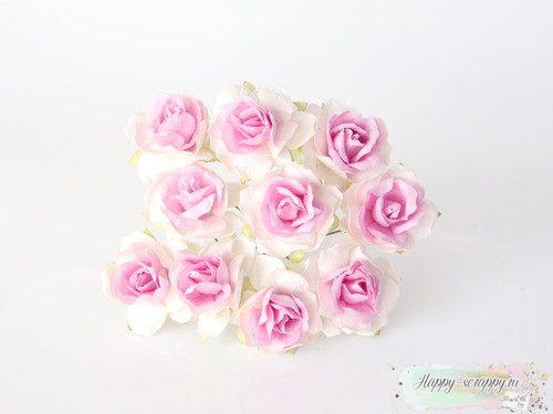 Кудрявая роза 3 см - св.розовый-белый (1 шт)