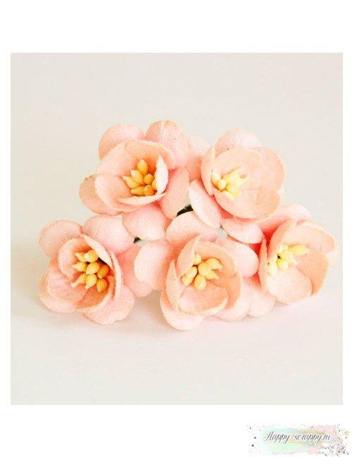 Цветы вишни светло-розовоперсиковые (5 шт)