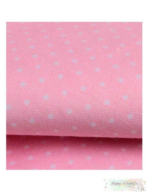 Ткань Горошек белый на розовом