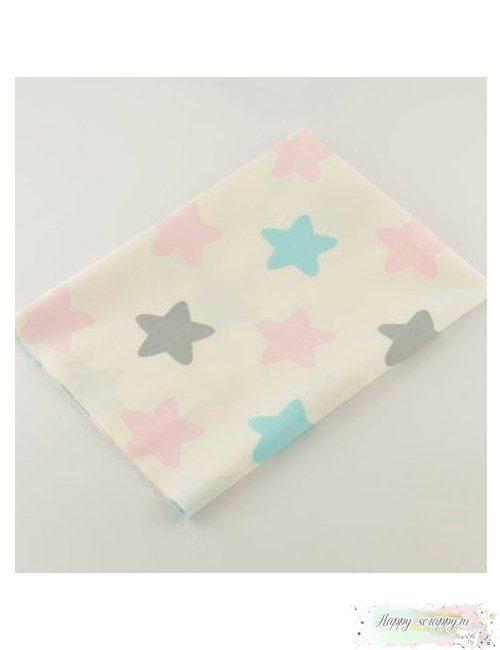 Ткань разноцветные звезды на молочном