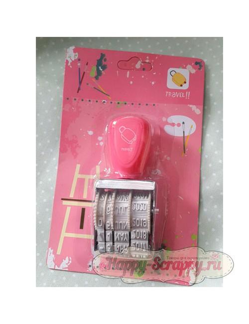 Штамп-роллер с датами ярко-розовый