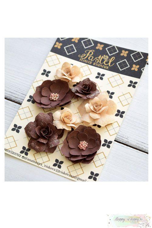 Набор цветов Pastel Flowers - корчиневые