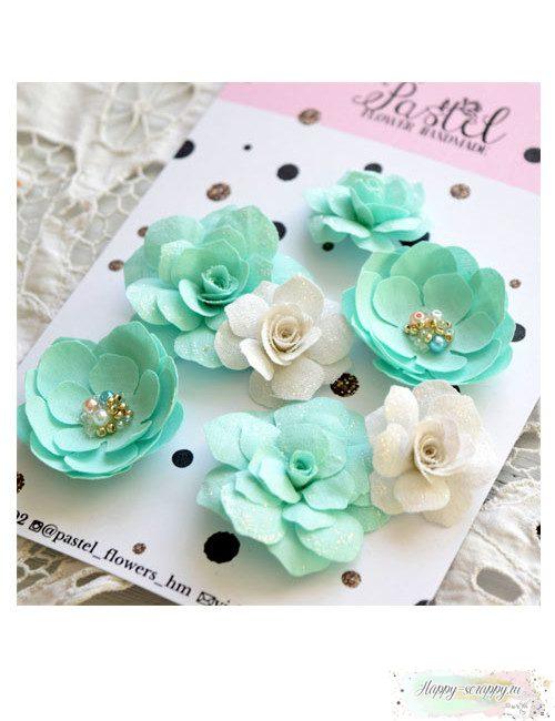 Набор цветов Pastel Flowers - бирюзовые