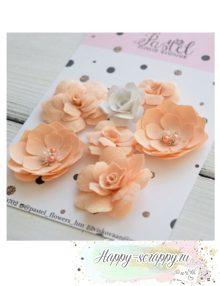 Набор цветов Pastel Flowers - персиковые