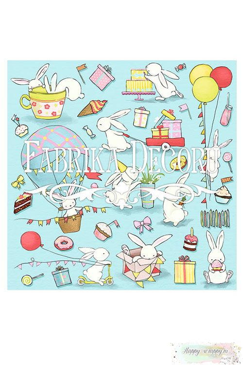 Бумага для скрапбукинга Bunny bithday party - Для вырезания