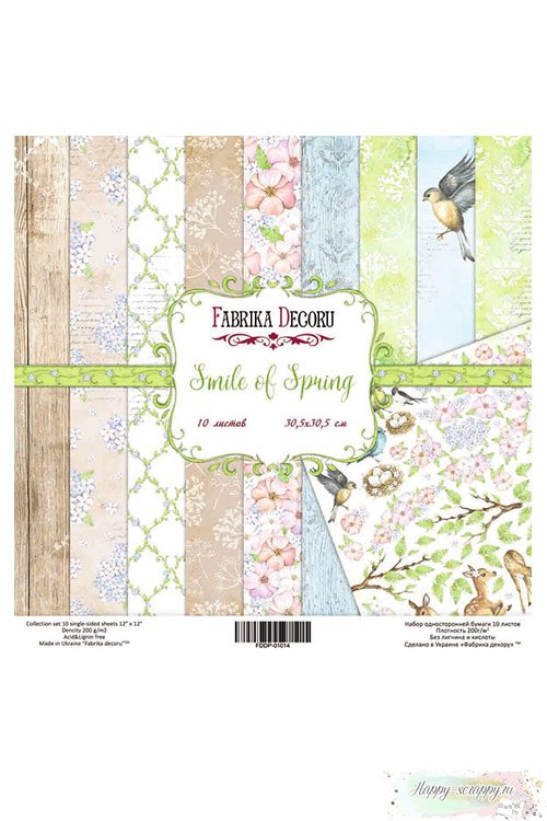 Набор бумаги для скрапбукинга Smile of Spring