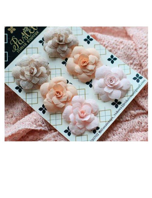 Набор цветов Pastel Flowers - бежевые и розовые