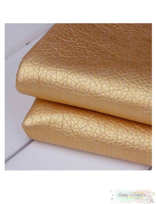 Кожзам с тиснением под кожу - золотой