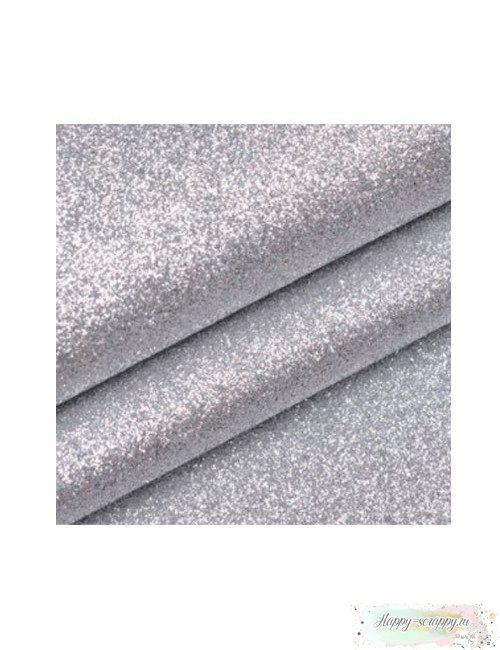 Кожзам - серебряный глиттер (50х33 см)