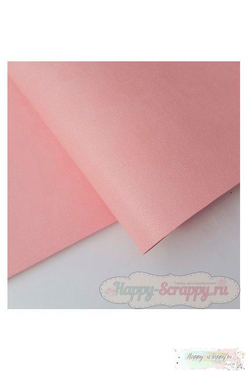 Переплетный кожзам матовый - светло-розовый