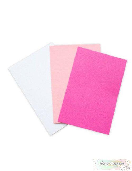 Набор заготовок для открыток - молочный, розовый, фуксия