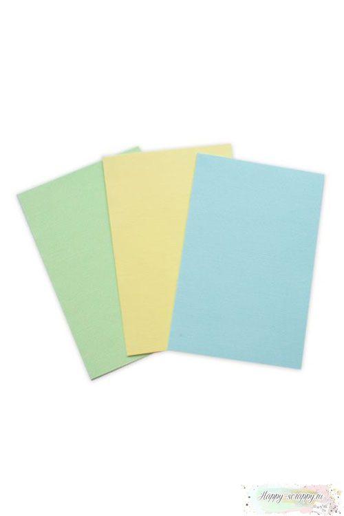 Набор заготовок для открыток - желтый, голубой, салатовый