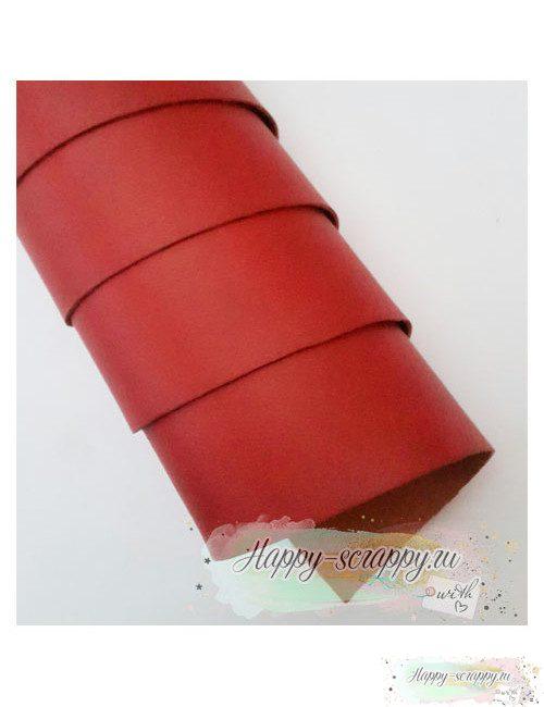 Переплетный кожзам матовый - темно-красный