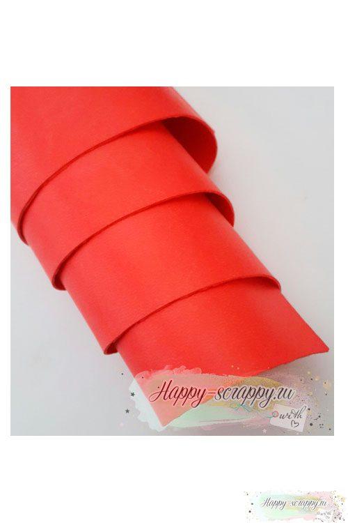 Переплетный кожзам матовый - светло-красный