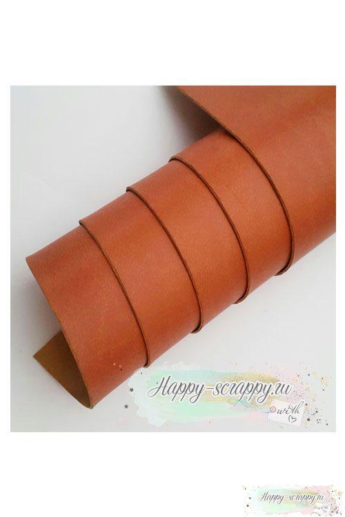 Переплетный кожзам матовый - рыжевато-коричневый