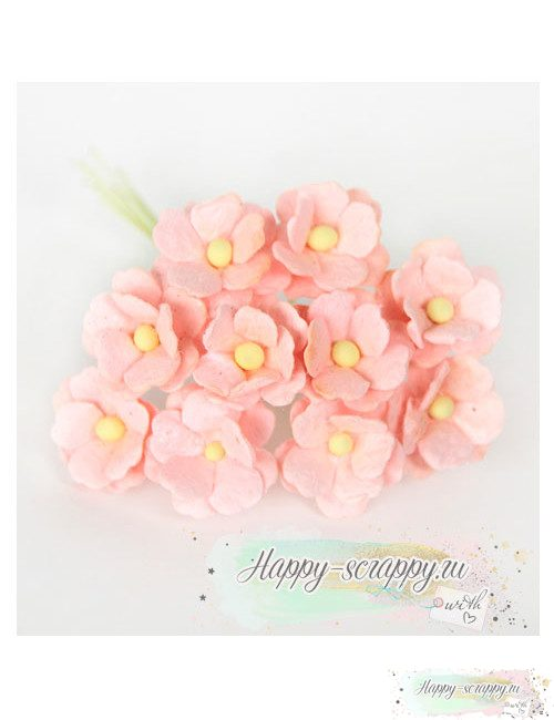 Цветы вишни средние светло-розовоперсиковые (5 шт)