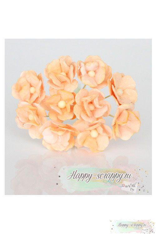 Цветы вишни средние светло-персиковые (5 шт)