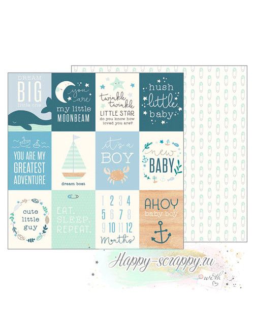 Бумага для скрапбукинга Night Night Baby Boy - Ahoy Baby Boy Cards