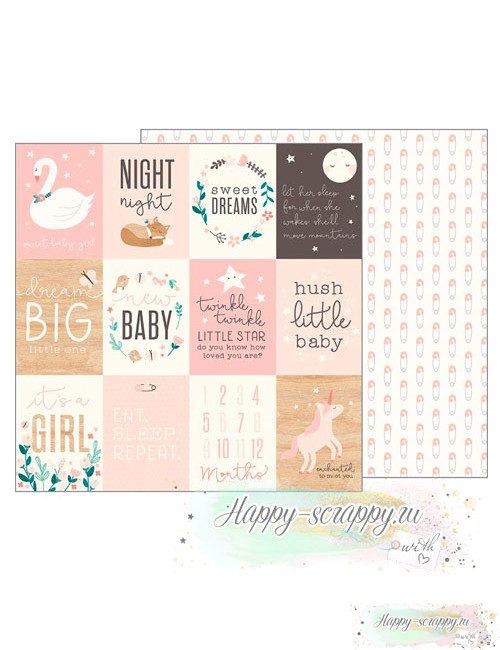 Бумага для скрапбукинга Night Night - Sweet Baby Girl Cards