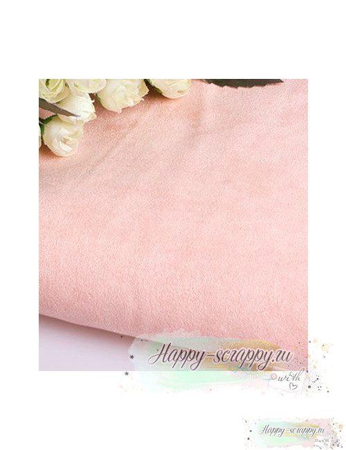Ткань под замшу - светло-розовая