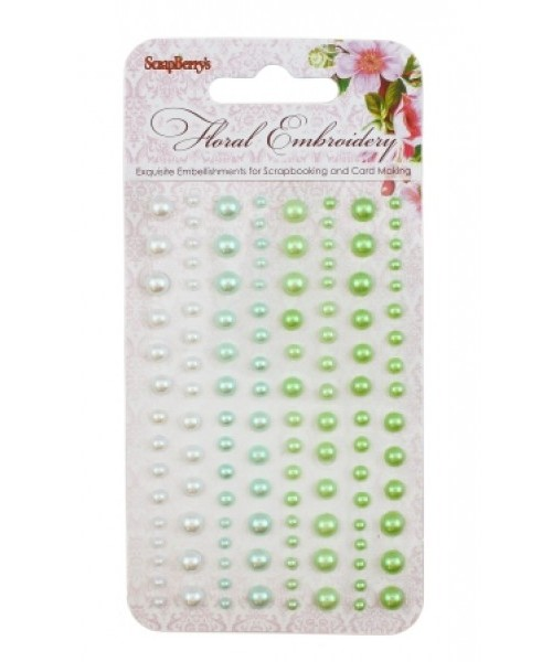 Клеевые полужемчужинки Цветочная вышивка 1