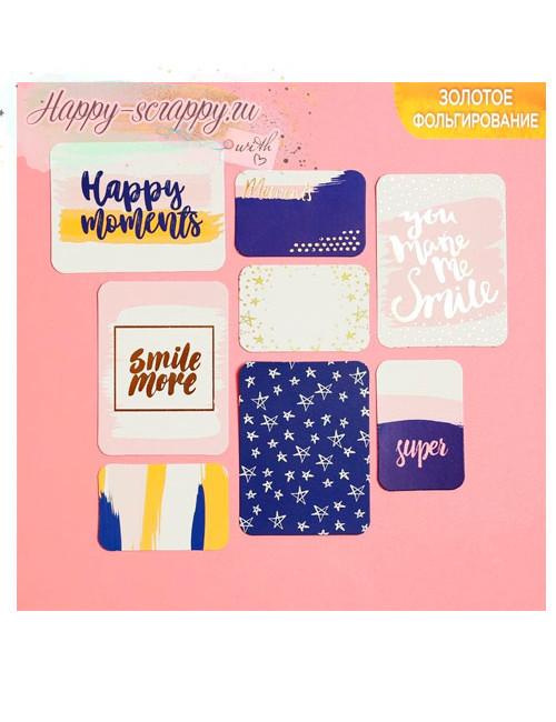 Набор карточек с фольгированием Happy moments