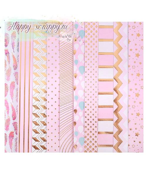 Набор бумаги с фольгированием Розовые облака
