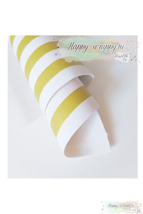 Кожзам полосатый - бело-золотой (50х34 см)