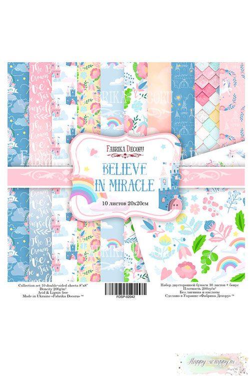 Набор бумаги для скрапбукинга 20х20 см Believe in miracle