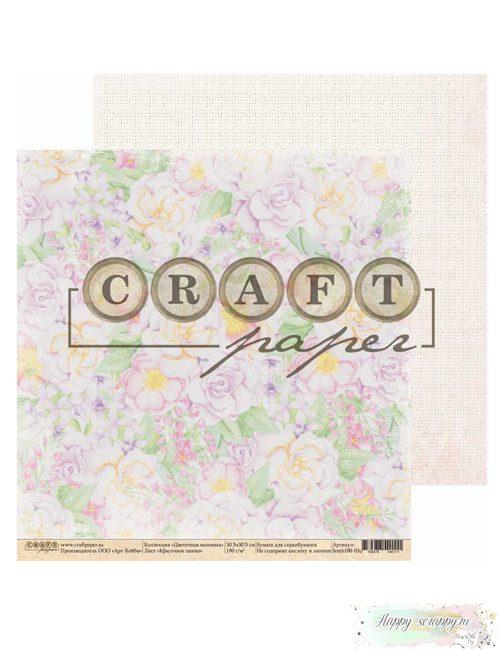 Бумага для скрапбукинга Цветочная вышивка - Красочное панно