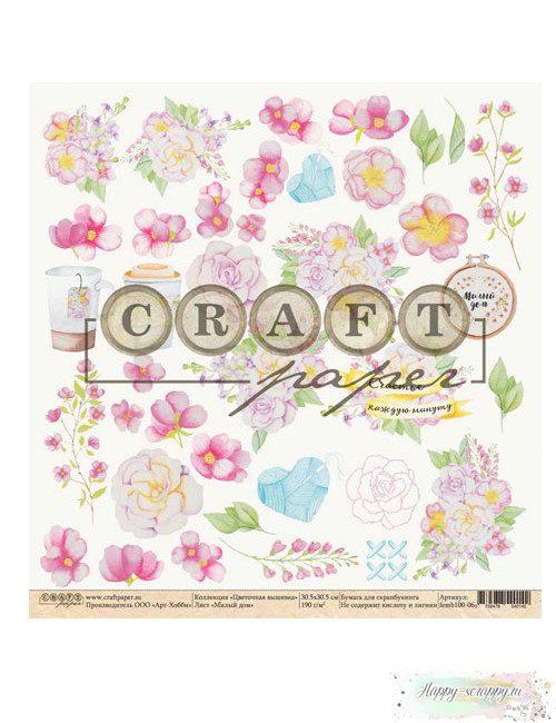 Бумага для скрапбукинга Цветочная вышивка - Милый дом
