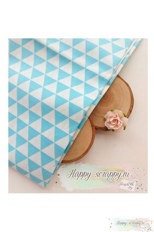 Ткань Треугольники голубые